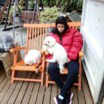 Jessica cuddling dog day