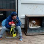 Sacha cuddling dog day